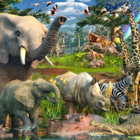 18000 Piece jigsaw Puzzle-Ravensburger At The Waterhole