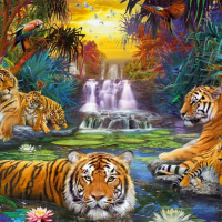 3000 Piece Jigsaw Puzzle-Ravensburger Tigers at the Waterhole