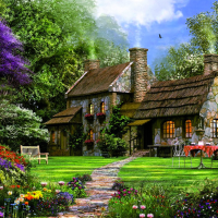 3000-Piece Puzzle Flint Cottage by D