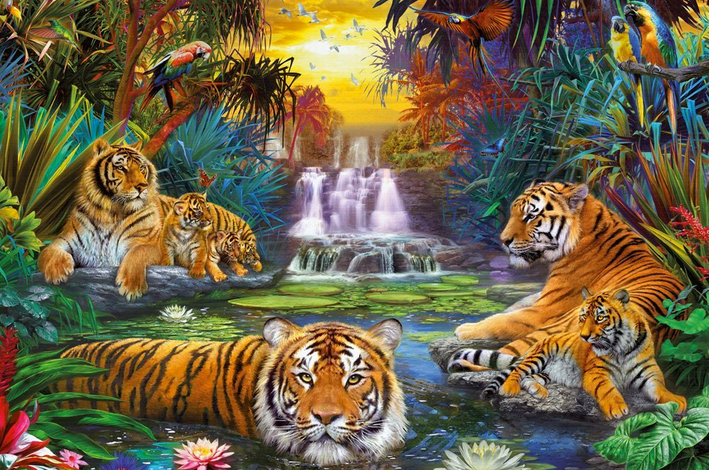 tigers at the waterhole jigsaw puzzle 3000 piece jigsaw puzzle. Black Bedroom Furniture Sets. Home Design Ideas