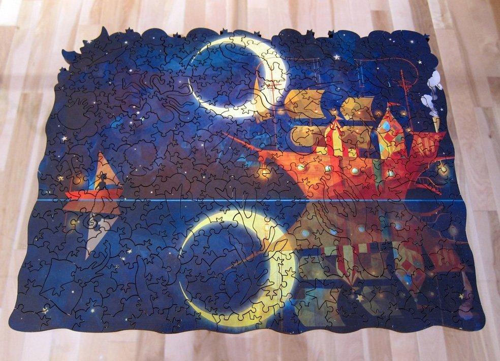 Nadiezda Night Ship Wooden Jigsaw Puzzle-Finished