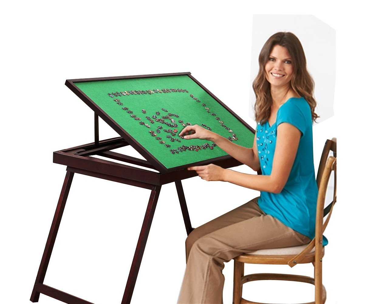 First Of The Working Surface Of This Fold Go Wooden Jigsaw Puzzle Table  Measures 35.5 Inches By 26.6 Inches By 45 Inches.