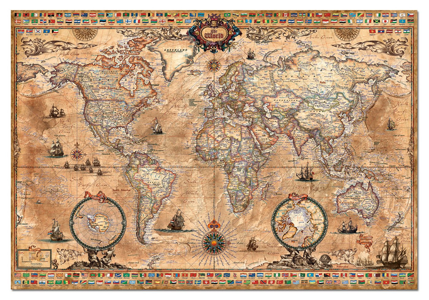 Old world map jigsaw puzzle jigsaw puzzles for adults if you are looking for a challenging old world map jigsaw puzzle that is really beautiful when completed this 1000 piece antique world map by educa might be gumiabroncs Images