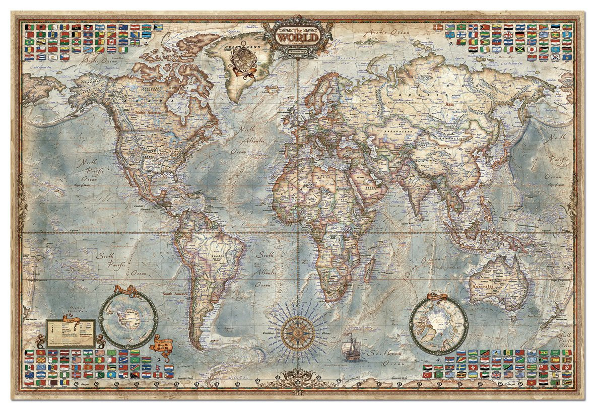 Piece Puzzle World Map By Educa Challenging Fun Eduational - Map of the world in detail