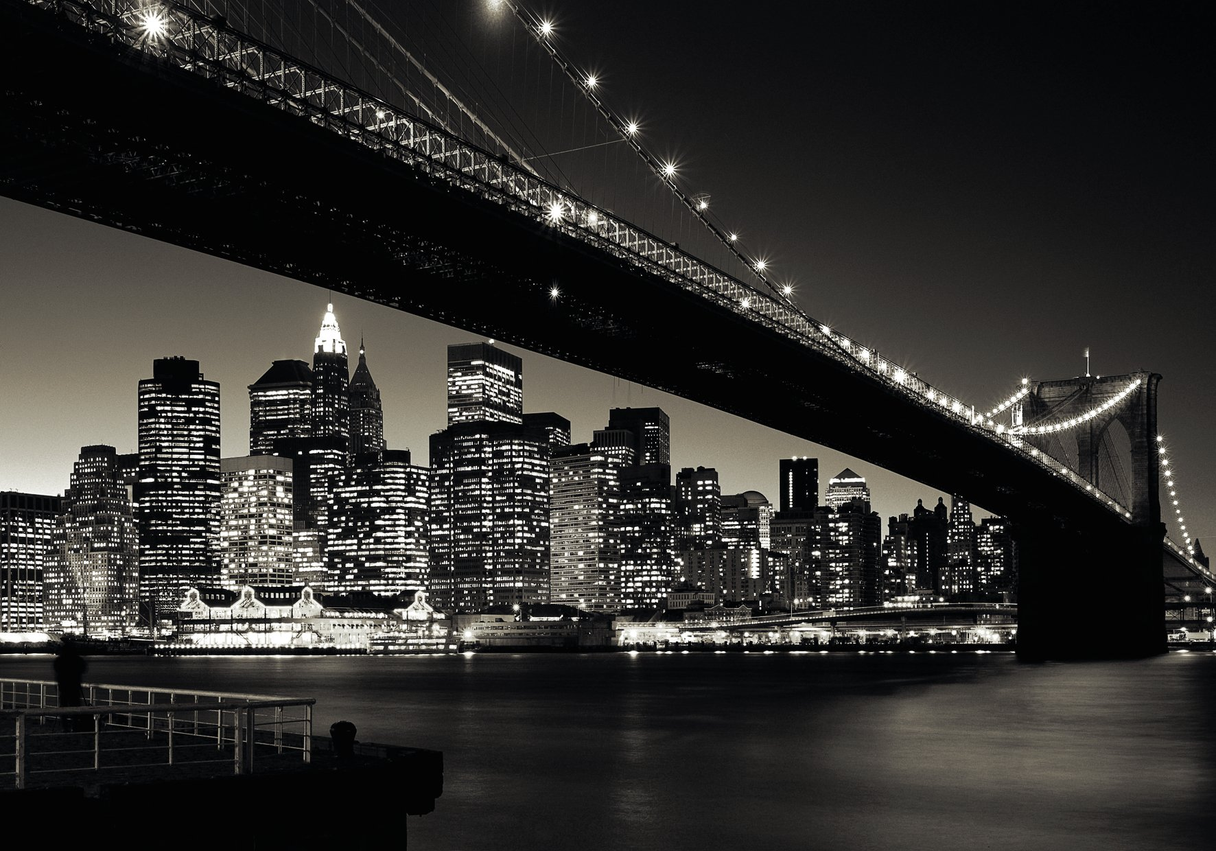 E285 Wooden Adult Jigsaw 1000 Piece New York City Brooklyn Bridge Scenery Very Challenging Adult and Teen Casual Jigsaw Puzzle Large Size Puzzle