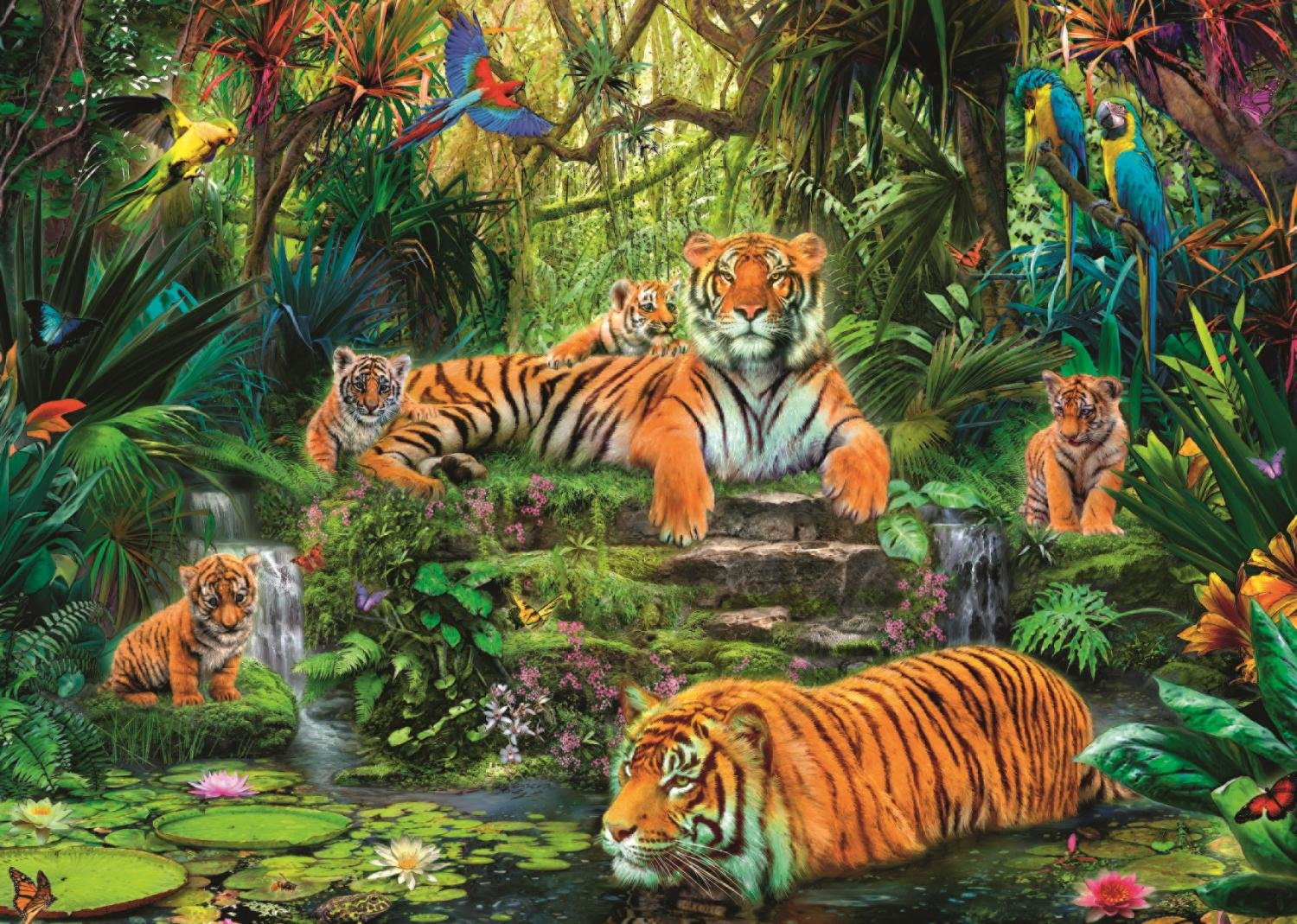 Tigers At The Waterhole Jigsaw Puzzle Beautiful Tiger Jigsaw Puzzles