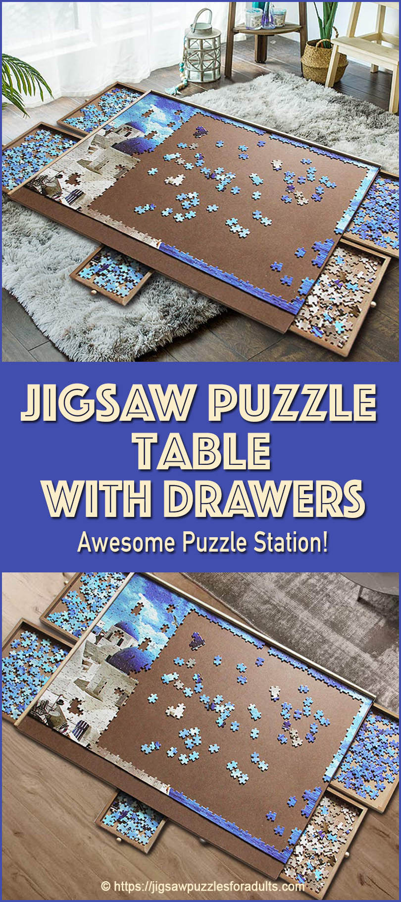 Jigsaw Puzzle Table Drawers